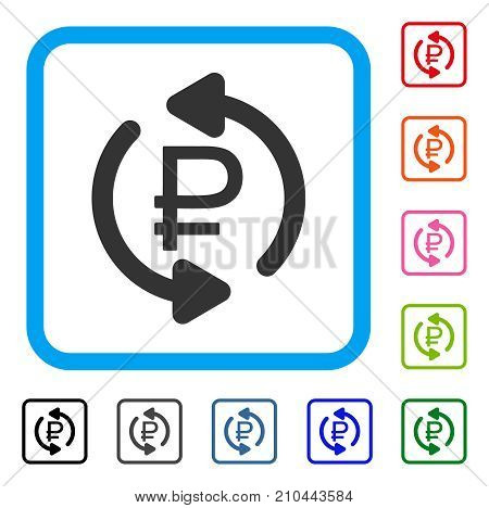 Refresh Rouble Balance icon. Flat gray iconic symbol inside a light blue rounded rectangle. Black, gray, green, blue, red, orange color variants of Refresh Rouble Balance vector.