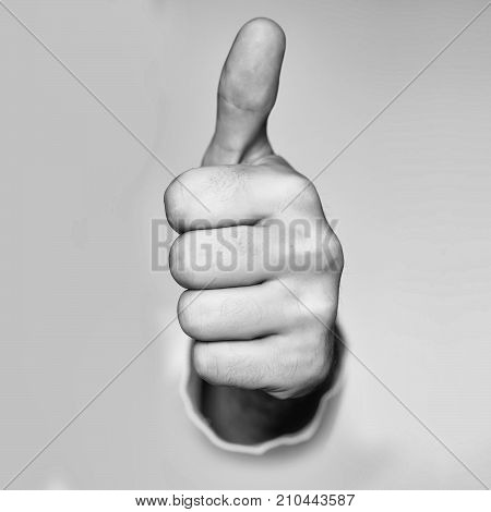 Thumb up hand closeup in super gesture with raised finger isolated on grey background