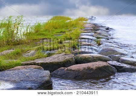 Closeup On The Rocks Of A Natural Breakwater