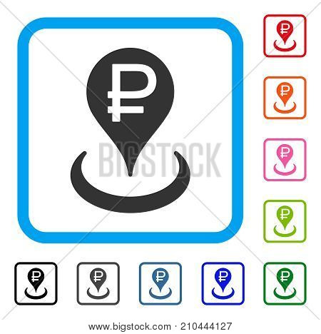 Rouble Bank Location icon. Flat grey iconic symbol in a light blue rounded rectangle. Black, gray, green, blue, red, orange color additional versions of Rouble Bank Location vector.