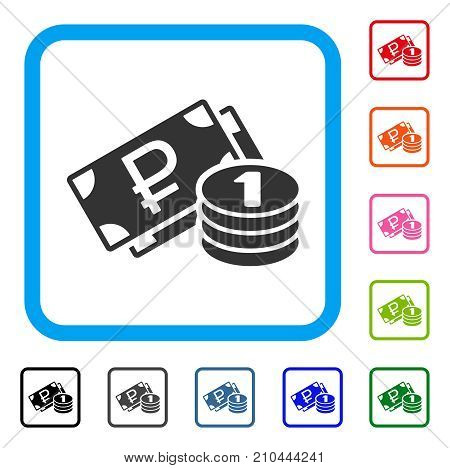 Rouble Cash icon. Flat grey pictogram symbol in a light blue rounded squared frame. Black, gray, green, blue, red, orange color additional versions of Rouble Cash vector.