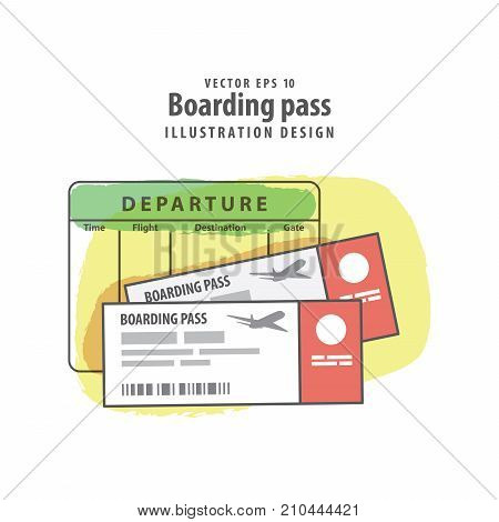 Boarding pass and departure timetable illustration vector background. Travel concept.