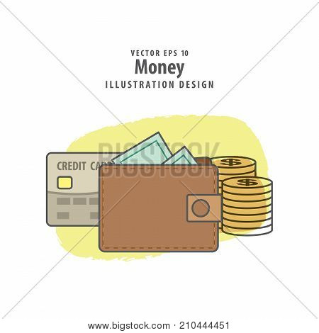 Wallet credit card and money illustration vector background. Travel concept.