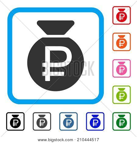 Rouble Fund icon. Flat grey iconic symbol inside a light blue rounded rectangle. Black, gray, green, blue, red, orange color variants of Rouble Fund vector.