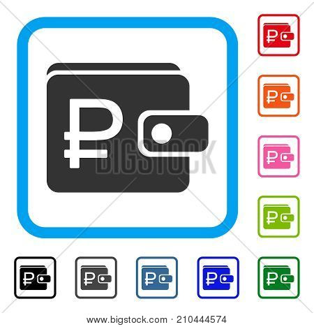 Rouble Purse icon. Flat grey iconic symbol inside a light blue rounded squared frame. Black, gray, green, blue, red, orange color variants of Rouble Purse vector.