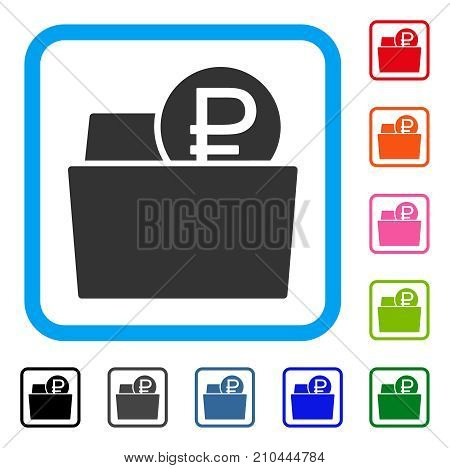Rouble Wallet icon. Flat grey iconic symbol inside a light blue rounded rectangle. Black, gray, green, blue, red, orange color additional versions of Rouble Wallet vector.