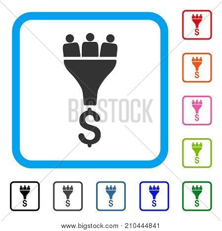 Sales Funnel icon. Flat grey iconic symbol in a light blue rounded frame. Black, gray, green, blue, red, orange color variants of Sales Funnel vector. Designed for web and application user interface.