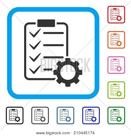 Smart Contract Gear icon. Flat grey iconic symbol inside a light blue rounded rectangle. Black, gray, green, blue, red, orange color variants of Smart Contract Gear vector.