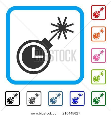 Time Bomb icon. Flat gray pictogram symbol in a light blue rounded rectangular frame. Black, gray, green, blue, red, orange color versions of Time Bomb vector. Designed for web and app UI.