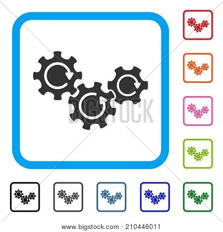 Transmission Gears Rotation icon. Flat grey pictogram symbol inside a light blue rounded square. Black, gray, green, blue, red, orange color variants of Transmission Gears Rotation vector.
