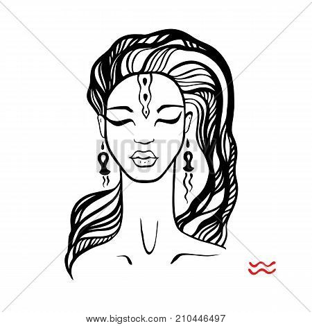 Aquarius. Zodiac signs collection. Beautiful Ink fashion zodiac girl. Horoscope series. Vector illustration