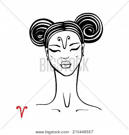 Aries. Zodiac signs collection. Beautiful Ink fashion zodiac girl. Horoscope series. Vector illustration