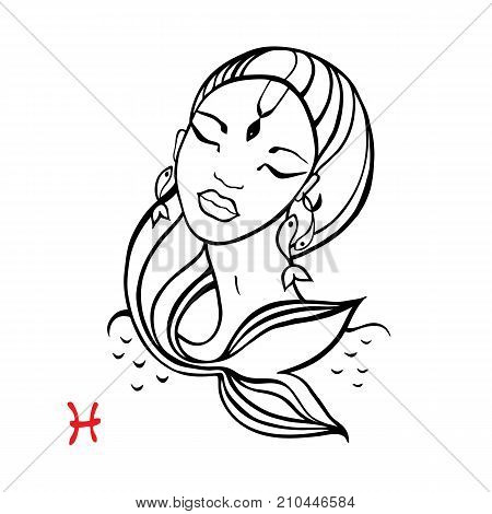 Pisces.. Zodiac signs collection. Beautiful Ink fashion zodiac girl. Horoscope series. Vector illustration