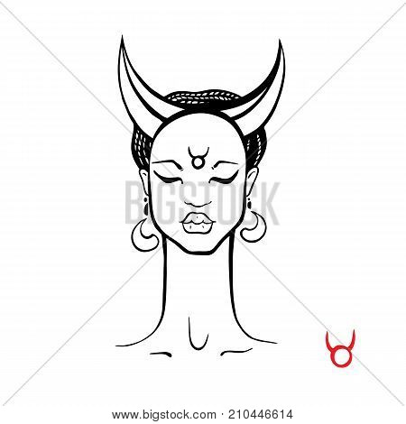 Taurus. Zodiac signs collection. Beautiful Ink fashion zodiac girl. Horoscope series. Vector illustration