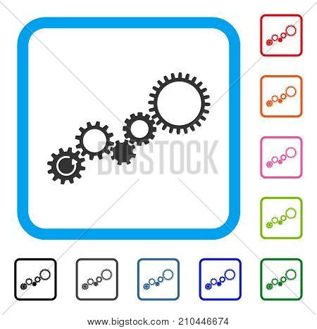 Gear Mechanism icon. Flat grey pictogram symbol inside a light blue rounded frame. Black, gray, green, blue, red, orange color versions of Gear Mechanism vector.