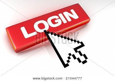 Login button with mouse cursor over