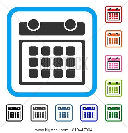 Calendar Month icon. Flat grey iconic symbol inside a light blue rounded frame. Black, gray, green, blue, red, orange color additional versions of Calendar Month vector.