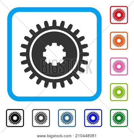 Cogwheel icon. Flat grey iconic symbol in a light blue rounded rectangle. Black, gray, green, blue, red, orange color variants of Cogwheel vector. Designed for web and software user interface.