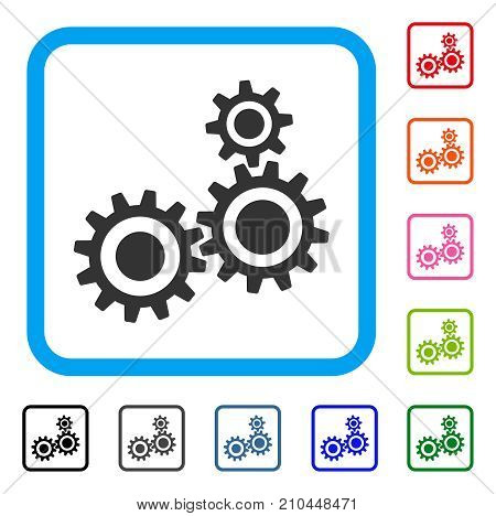 Gear Mechanism icon. Flat grey pictogram symbol inside a light blue rounded squared frame. Black, gray, green, blue, red, orange color versions of Gear Mechanism vector.
