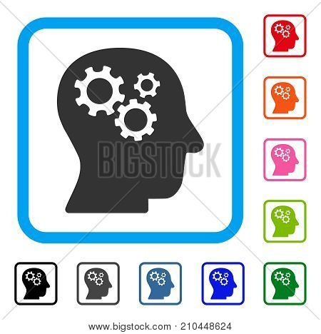 Intellect Gears icon. Flat grey iconic symbol inside a light blue rounded frame. Black, gray, green, blue, red, orange color variants of Intellect Gears vector. Designed for web and software UI.