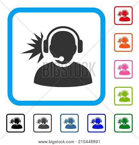 Operator Headphones Signal icon. Flat gray pictogram symbol inside a light blue rounded rectangle. Black, gray, green, blue, red, orange color versions of Operator Headphones Signal vector.