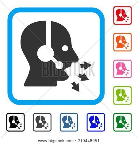 Operator Speak icon. Flat grey iconic symbol in a light blue rounded square. Black, gray, green, blue, red, orange color versions of Operator Speak vector. Designed for web and app UI.