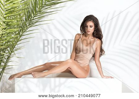 Sensual Brunette Woman Posing With Palm Leaves.