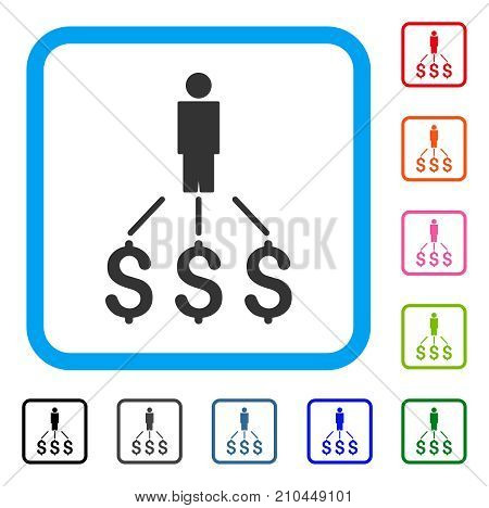 Person Expenses icon. Flat gray iconic symbol inside a light blue rounded square. Black, gray, green, blue, red, orange color additional versions of Person Expenses vector.