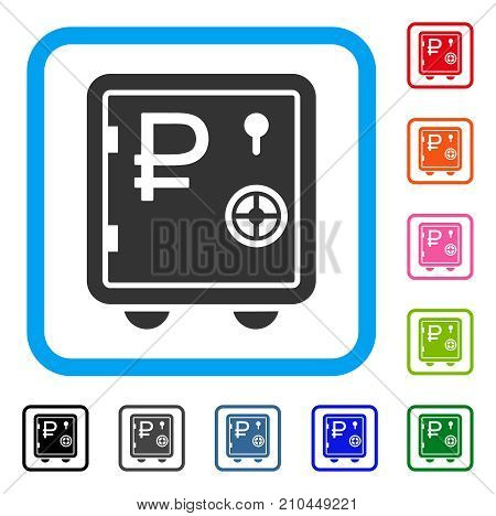Rouble Bank Safe icon. Flat gray iconic symbol in a light blue rounded squared frame. Black, gray, green, blue, red, orange color additional versions of Rouble Bank Safe vector.