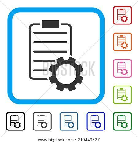 Smart Contract Gear icon. Flat grey pictogram symbol in a light blue rounded rectangular frame. Black, gray, green, blue, red, orange color variants of Smart Contract Gear vector.