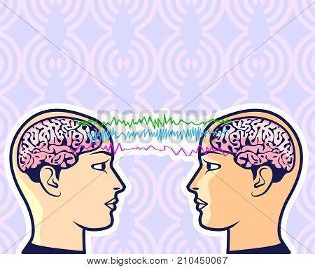 Brainwave Frequency Information Exchange Telepathy Vector Eps