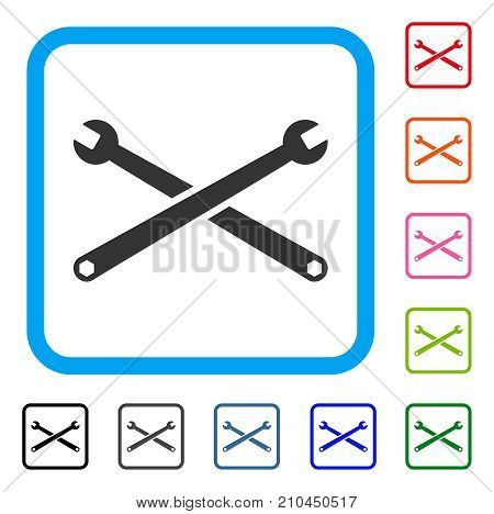 Wrenches icon. Flat grey pictogram symbol inside a light blue rounded rectangle. Black, gray, green, blue, red, orange color additional versions of Wrenches vector.