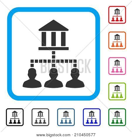 Bank Clients icon. Flat grey iconic symbol in a light blue rounded square. Black, gray, green, blue, red, orange color additional versions of Bank Clients vector.