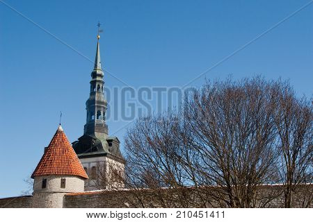 Two steeples seen in old town Estonia