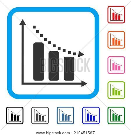 Negative Trend icon. Flat gray iconic symbol in a light blue rounded rectangle. Black, gray, green, blue, red, orange color versions of Negative Trend vector. Designed for web and app UI.