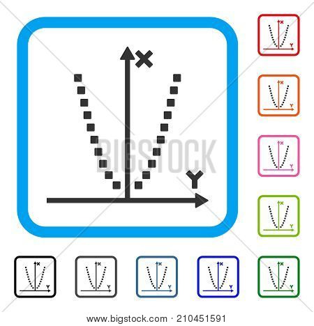 Parabole Plot icon. Flat grey pictogram symbol in a light blue rounded frame. Black, gray, green, blue, red, orange color additional versions of Parabole Plot vector.