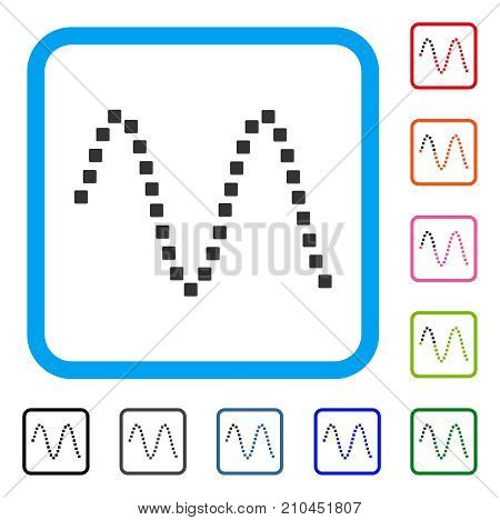 Sinusoid icon. Flat gray pictogram symbol in a light blue rounded frame. Black, gray, green, blue, red, orange color additional versions of Sinusoid vector.