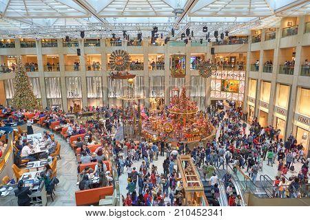 HONG KONG - DECEMBER 25, 2015: Christmas decorations at the Landmark shopping mall in Hong Kong.
