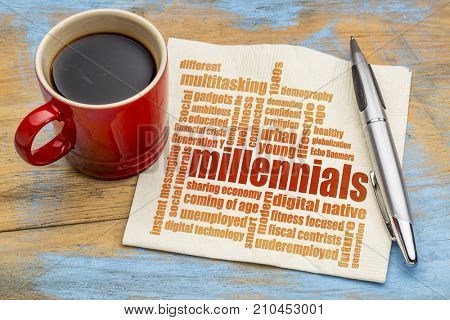 millennials generation word cloud on a napkin a cup of coffee - demography concept