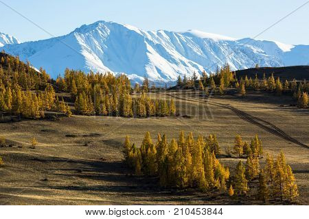 Views of the snowy ridges of Altai mountains in Altai Republic, Russia.