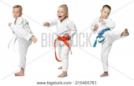 Collage with little children practising karate on white background