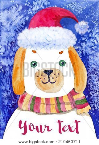 New Year Dog  - watercolor illustration