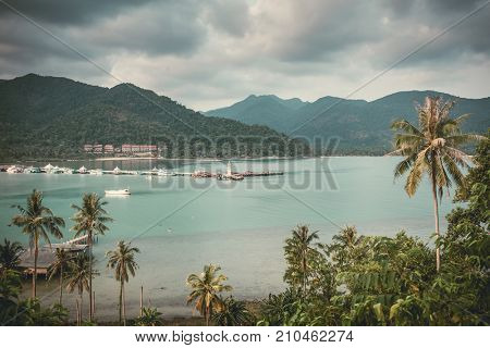 Beautiful landscape with a Bang Bao bay view on Koh Chang island in Thailand. Vintage color filter applied