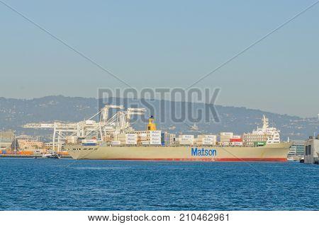 Alameda, CA - March 9, 2015: Oakland Container Shipyard, San Francisco Bay the Matson container ship