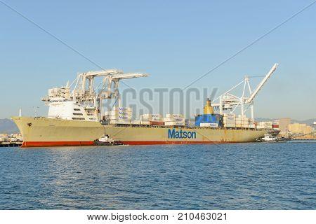 Alameda, CA - March 9, 2015: Oakland Oakland Container Shipyard, San Francisco Bay, the MATSON ship