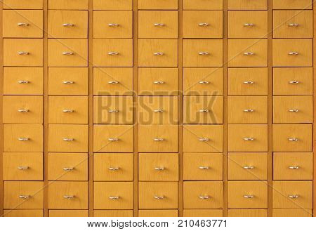 Wooden drawers for archives documents files and folders vintage