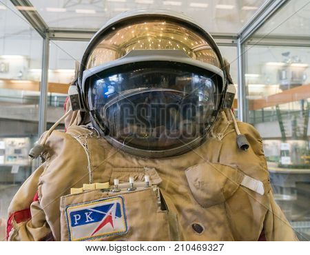 Kaluga, Russia, September 17, 2017: Russian astronaut spacesuit in Kaluga space museum.