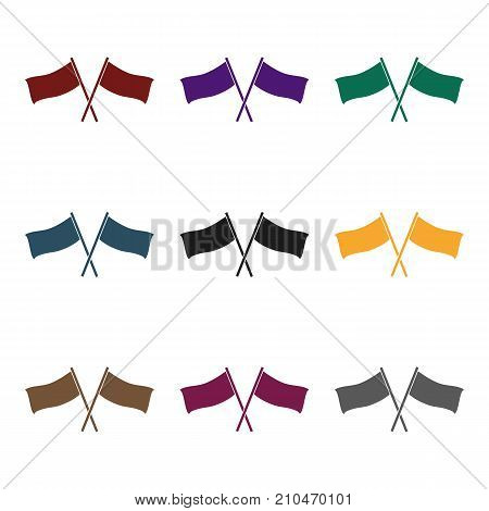 Red and blue flags icon in black design isolated on white background. Paintball symbol stock vector illustration.
