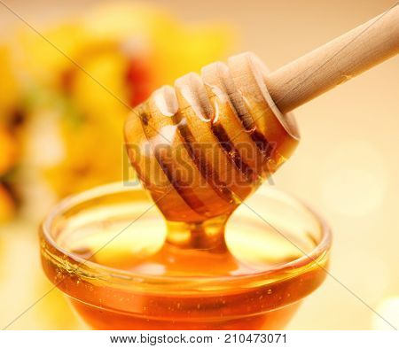 Honey dripping from honey dipper on yellow background. Thick honey dipping from the wooden honey spoon. Healthy food concept, diet, dieting