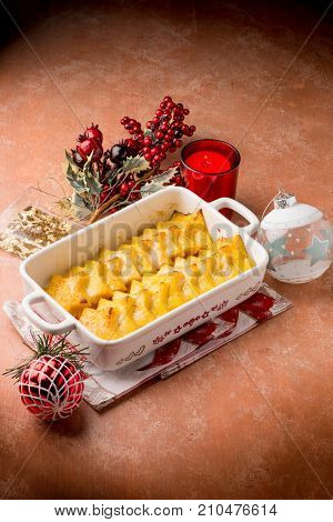 romana gnocchi with semolina over christmas table